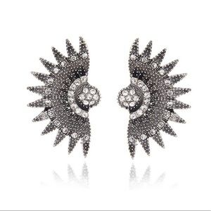 Retro sunburst Deco Rhinestone Earrings